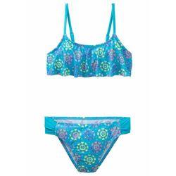 Bikini dziewczęce (2 części) bonprix niebieski z nadrukiem