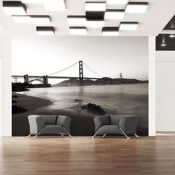 Fototapeta - San Francisco: Most Golden Gate w czerni i bieli bogata chata