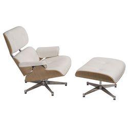 Fotel wypoczynkowy z podnóżkiem Radiso - biały