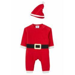 Kombinezon niemowlęcy świąteczny + czapka (2 części) bonprix czerwono-czarno-biały