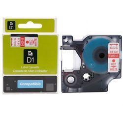Taśma Dymo D1 zamiennik 40915 9mm x 7m biała/czerwony nadruk