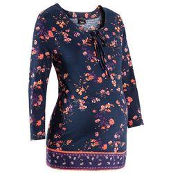 Bluzka shirtowa ciążowa bonprix ciemnoniebiesko-mandarynka w kwiaty