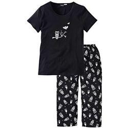 Piżama bonprix czarno-biały
