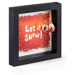 """Dekoracyjna ramka LED """"Let it snow"""" z bombkami bonprix czerwono-czarno-biały"""
