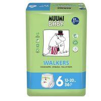Pieluchy jednorazowe, MUUMI Baby Walkers Pieluchy 6 Junior 36szt pieluchomajtki hipoalergiczne i ekologiczne (12-20kg)