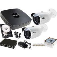 Zestawy monitoringowe, 2x BCS-TIP3401IR-E-IV zestaw monitoringu na dom BCS-NVR04015ME-II 1TB akcesoria