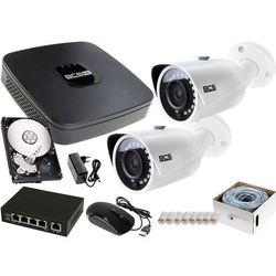 2x BCS-TIP3401IR-E-IV zestaw monitoringu na dom BCS-NVR04015ME-II 1TB akcesoria