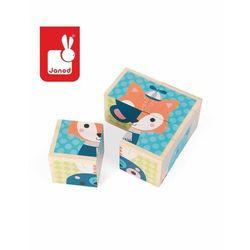 Klocki drewniane, puzzle 6w1 Janod - Las J08000