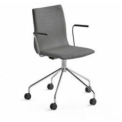 Krzesło konferencyjne OTTAWA, na kółkach, podłokietniki, szara tkanina, chrom
