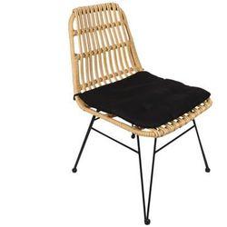 Krzesło ogrodowe NOSARA z technorattanu - Czarne siedzisko