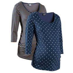 Shirt ciążowy biznesowy (2 szt.), bawełna organiczna bonprix ciemnoniebieski w groszki + w paski