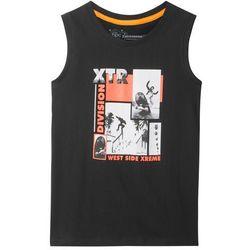 Koszulka bez rękawów bonprix czarny z nadrukiem