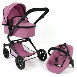 Bayer Chic wózek dla lalek LIA z fotelikiem samochodowym jeans-różowy