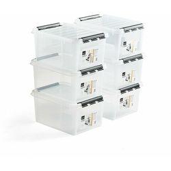 Pojemnik plastikowy LEE z pokrywą, 32 L, 6 szt., 500x390x260 mm, przezroczysty