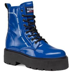 Trapery TOMMY JEANS - Patent Lace Up Boot EN0EN01151 Providence Blue C63