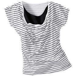 """T-shirt z dekoltem """"wodą"""" bonprix biało-czarny w paski"""