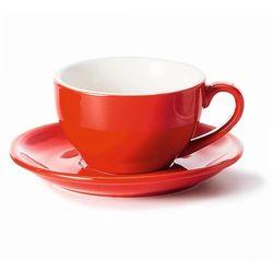 Filiżanka ze spodkiem czerwona – klasyczny zestaw na kawę herbatę, elegancki prezent podarunek dla mamy taty babci dziadka