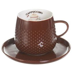 Dekoria Filiżanka ze spodkiem Raindrop Coffee dark brown porcelana 270ml, 270ml