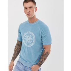 ASOS DESIGN short sleeve sweatshirt in towelling with embroidered design - Blue