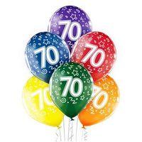 """Pozostałe wyposażenie domu, Balony transparentne z nadrukiem """"70"""" - 12 cali - 6 szt."""