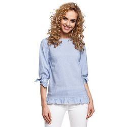 Kobieca bluzka w prążki wykończona falbankami niebieska M295