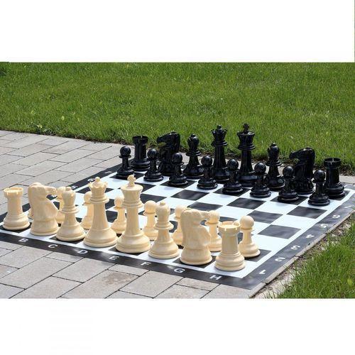 Pozostałe gry towarzyskie, Mały zestaw do szachów ogrodowych król 20cm - figury + szachownica winylowa