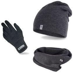 Komplet męski PaMaMi - czapka, szalik, rękawiczki - Ciemnoszary