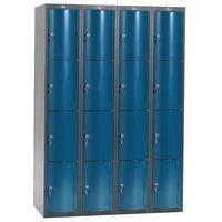 Pozostała odzież robocza i BHP, Metalowa szafa ubraniowa CURVE, 4x4 drzwi, 1740x1200x550 mm, niebieski