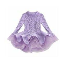 Krótka swetrowa sukienka z tiulową spódniczką, wrzosowa tunika dziecięca