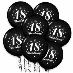 Balony pastelowe z nadrukiem 18 urodziny - czarne - 30 cm - 100 szt.