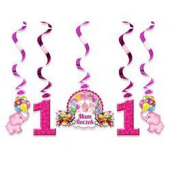 Świderki urodzinowe różowe na roczek - 60 cm - 5 szt