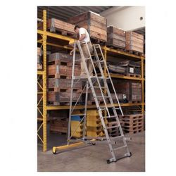 Składana aluminiowa drabina platformowa - 6 stopni, 1,6 m