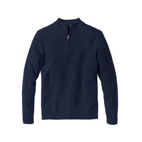 Swetry męskie, Sweter ze stójką z zamkiem bonprix ciemnoniebieski