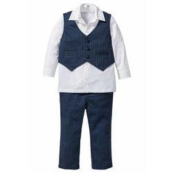 Koszula + kamizelka + spodnie (3 części) bonprix ciemnoniebiesko-biały
