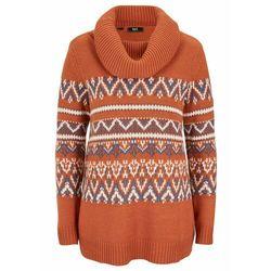 Sweter w norweski wzór, z szerokim golfem, fason o linii litery A bonprix pomarańczowo-brązowy w norweski wzór