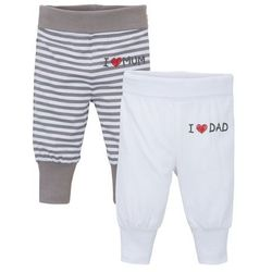 Spodnie niemowlęce z dżerseju (2 pary), bawełna organiczna bonprix szary + biały