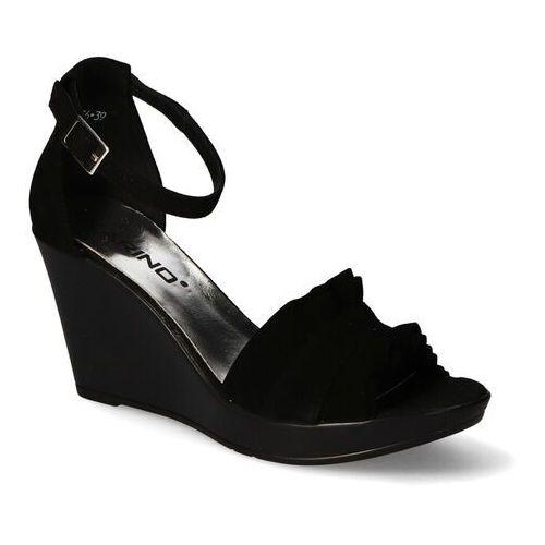 Sandały damskie, Sandały Karino 3156/003-P Czarne zamsz