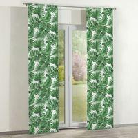 Zasłony, Dekoria Zasłony panelowe 2 szt., zielone liście na białym tle, 60 × 260 cm, Urban Jungle