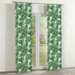Dekoria Zasłony panelowe 2 szt., zielone liście na białym tle, 60 x 260 cm, Urban Jungle