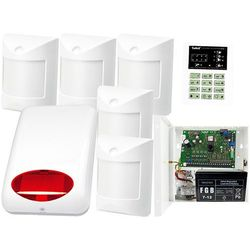 Zestaw alarmowy: Płyta główna CA-6 P,Manipulator CA-6 KLED-S, 5x Czujka wewnętrzne Amber, Sygnalizator Zewn., Akcesoria