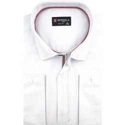 Koszula Męska Speed. A gładka biała SLIM FIT z mankietami na spinki z krytą plisą D916