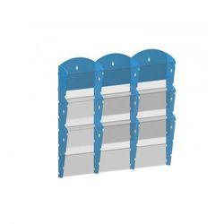 Plastikowy uchwyt ścienny na ulotki - 3x3 A4, niebieski