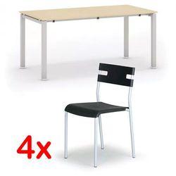 Stół konferencyjny AIR 1600 x 800 mm, Brzoza + 4x krzesło LINDY GRATIS, czarny