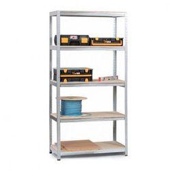 Regały z półkami z płyty wiórowej 1800x900x600 mm, 5 półek, 350 kg