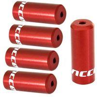 Pancerze i linki, Końcówki pancerza Accent aluminiowe 4 mm, przerzutkowe, 5 szt. czerwone