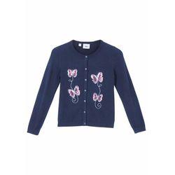 Sweter dziewczęcy rozpinany bawełniany z cekinami bonprix ciemnoniebieski
