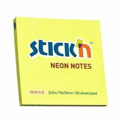 KARTECZKI SAMOPRZYLEPNE STICK'N 76X76 ŻÓŁTY NEON