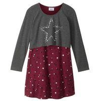 """Zestawy odzieżowe dziecięce, Sukienka + shirt """"boxy"""" (2 części) bonprix antracytowy melanż - czerwony rododendron"""