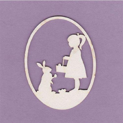 Ozdoby świąteczne, Pisanka - dziewczynka z zajączkiem - DZK