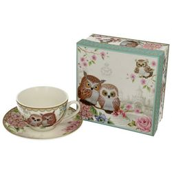 DUO FILIŻANKA DO HERBATY KAWY OWLS SOWY PORCELANA
